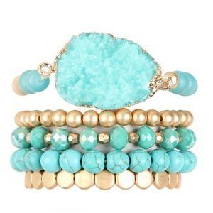 TURQUOISE | Druzy bracelet set